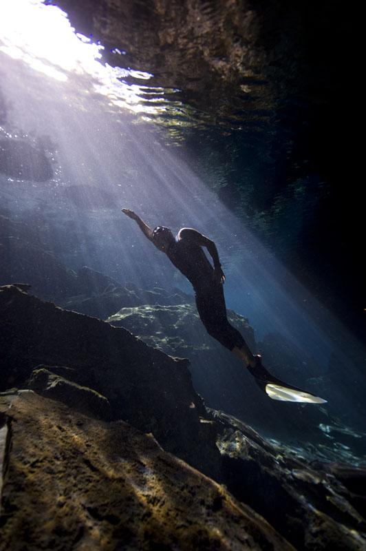 freediving, cenote, cave,